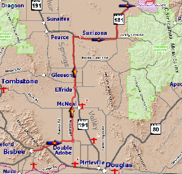 Map Bisbee to Chiricahua NM