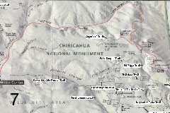 Map of Chiricahua Monument